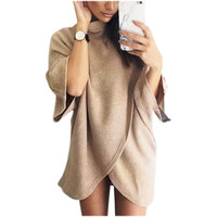 Oversize Sweatshirt Dress 2016 Women Autumn Winter Dress Front Cross Irregular Autumn Dress Women Casual Loose Vestidos GV406