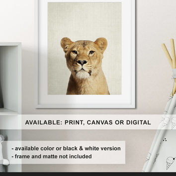 Lioness print, Lioness poster, Lion nursery decor, African animal wall art, Safari decor, Nursery animal art, Animal portrait Print/Canvas