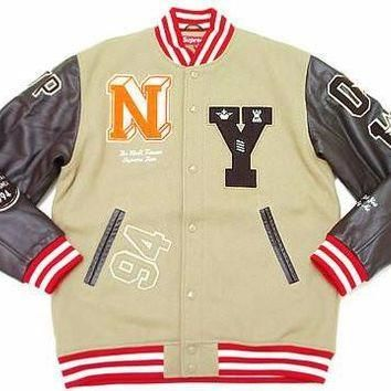 Supreme All City Baseball Jacket - Brown