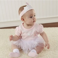 Infant Girl's Baby Aspen 'Big Dreamzzz - Princess' Bodysuit, Sock & Headband