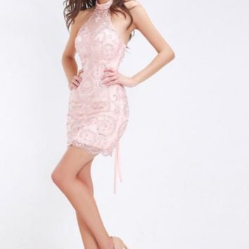 Sexy Cocktail Dresses in Pink High Neck Sleeveless Backless Beading Crystal Mini Short Party Gowns