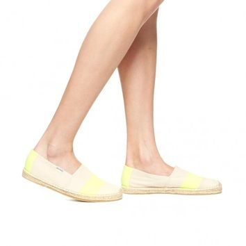 Neon Barca Stripe - Neon Yellow Natural Espadrilles for Women from Soludos - Soludos Espadrilles