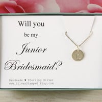 Will you be my Junior Bridesmaid necklace gift for Jr Bridesmaid invite sterling silver initial necklace, personalized bridesmaids gift box