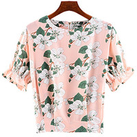 Light Pink Ruffle Sleeve Floral Chiffon Top