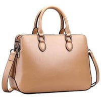 Trendy Double Zippered Tote Top-handle Cross Body Shoulder Bag Satchel Handbag Purse Messenger
