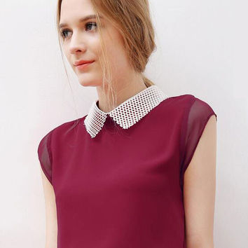Summer Sleeveless Stitching Color POLO Collar/Lapel Linen Chiffon Blouse
