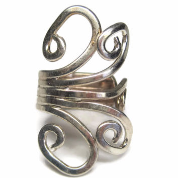 Vintage 80s Modernist Sterling Swirl Ring Size 5.5