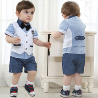 Children Clothes 2014 New Baby Boy Suit Summer Boys plaid Short Sleeve shirt +Gentleman Waistcoat+Leisure shorts 3 pc set. BaBy Sets Baby Cl