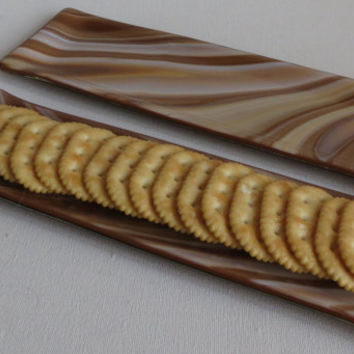 Fused Glass Dishes in a Brown Swirl Pattern, Statteam