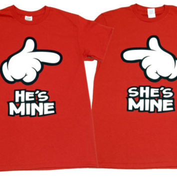 He's Mine Pointing + She's Mine Pointing Cute Couple T-Shirts - Unisex Adult (Men + Women Same Size)