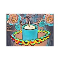 Roses Pearl Necklace Candles Still Life Abstract Canvas Print
