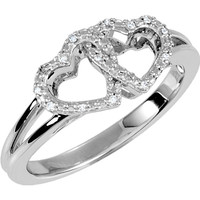 Sterling Silver .05 CTW Diamond Double Heart Design Ring