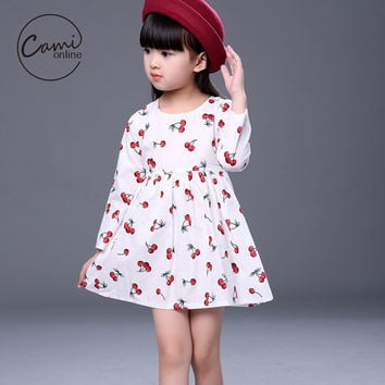 Cartoon Cherry Long Sleeve Girls Princess Dress Children Girl Bow Veil Tutu Cute Wing Party A Line Dress Infant Girls Clothes