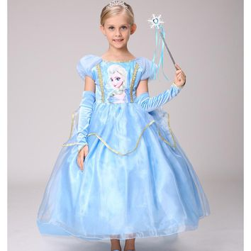 Children's Princess Dress Kids Anna Elsa Dresses Costumes Girl Dresses for Girls The Snow Queen Christmas Toddler Girls Clothing