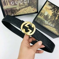 GUCCI Classic Fashion Woman Men Smooth Buckle Belt Leather Belt