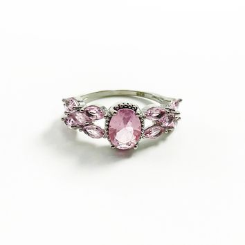 Pink CZ Sterling Silver Ring