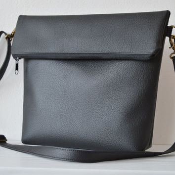 Black crossbody bag / Medium shoulder purse / Simple foldover vegan leather bag