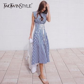 TWOTWINSTYLE Lace Up Dress For Women Striped Sleeveless Tunic High Waist Long Holiday Dresses Summer Fashion Korean Clothes