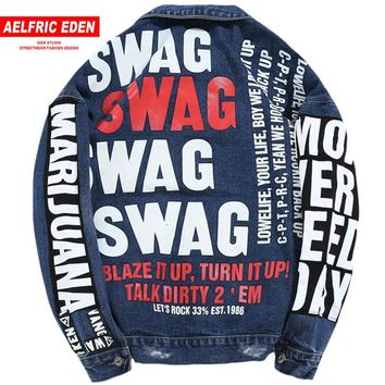 Trendy Aelfric Eden Jean Jacket 2017 Men Graffiti Denim Jackets Coats Hole Letter Print Blue Baseball Jacket Swag Hip Hop Jacket KT17 AT_94_13