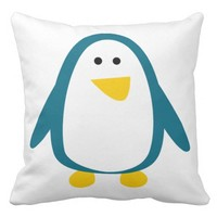 Blue yellow cute penguin animation illustration