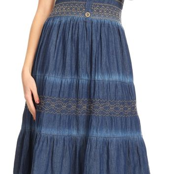 Sakkas Ode Women Boho Maxi Chambray Casual Long Dress Short Sleeve Off Shoulder