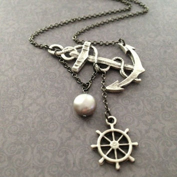 Lost at Sea Necklace by SBC Silver Plated Anchor and Ship Wheel AAA Platinum Silver Baroque FW Pearl Gunmetal Chain Made to Order
