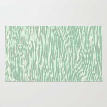 Jade Glow - abstract lines in cream & mint Area & Throw Rug by TigaTiga Artworks