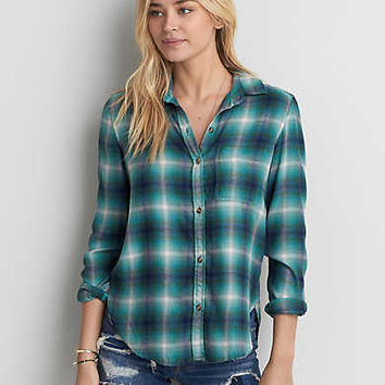 AEO Ahh-mazingly Soft Plaid Shirt , Teal