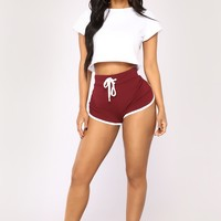 Fit And Fab Active Shorts - Burgundy/White