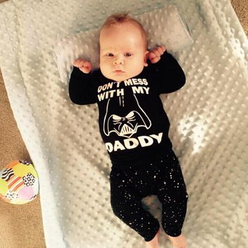 2017 New Style Baby Boy Girl Clothes Star Wars Pattern Long Sleeve Cotton Tops + Long Pants 2 Pcs Set
