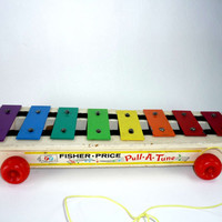 Vintage Fisher Price Pull a Tune Pull Toy Xylophone