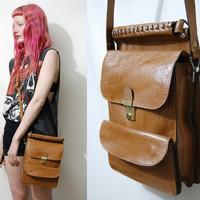 70s Vintage TAN LEATHER Bag Handbag Bohemian Messenger Satchel Boho Cross-body 1970s vtg