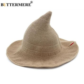 BUTTERMERE Women Witch Hat Knitting Bucket Hat Korean Ladies Wizard Hat Wide Brim Female Fishing Hat Khaki Black Ray Pink Beige