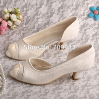 Bride Collections Low Heel Shoes Woman Lace Ivory Bridal Shoes 5CM Free Shipping