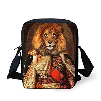 """Lion"" General on a Zipper Messenger Bag/ Purse, Adjustable Strap"