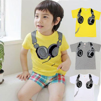 Fashion Headphone Style Children T-Shirts 100% Cotton Baby Boys Girls Shorts Sleeve Tees Tops Cartoon T Shirts Child Clothing