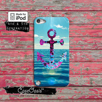 Anchor Blue Purple Watercolor Ocean Cute Cool Custom Case iPod Touch 4th Generation or iPod Touch 5th Generation Rubber or Plastic Case