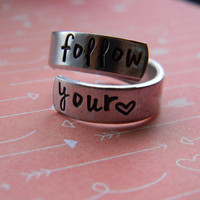 Follow your heart hand stamped aluminum spiral ring
