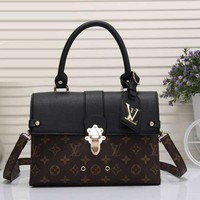 Louis Vuitton Women Leather Satchel Crossbody Tote Handbag Shoulder Bag
