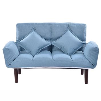 LK27 Multifuction Fordable Adjustable Sofa Natural Cotton Linen Couch Relax Upholstered Armchair High-density Rebound Sponge Bed