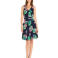 Tahari by Arthur S. Levine Women's Sleevless Wrap Front Printed Dress