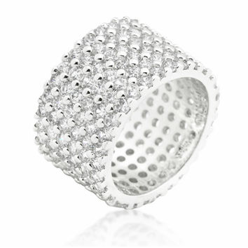 Tina Wide Paved Eternity Silver Band Ring | 22ct | Cubic Zirconia