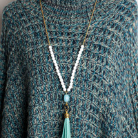 Tweeds and Beads Necklace - White and Gold with Turquoise Stone and Tassel