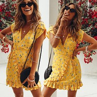 New Fashion Bohemian Style Women Summer Casual Short Sleeve V Neck Bandage Bodycon Yellow Evening Party Print Short Mini Dress
