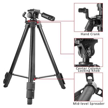 "Extendable Travel Tripod 57""/145cm Portable Lightweight Folding Video Tripod with 1/4"" Screw Pan Tilt Head Phone Clip Holder"