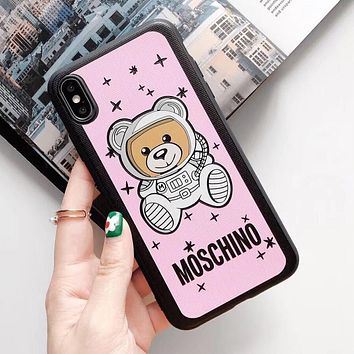 MOSCHINO Stylish Lovely Astronauts Bear Print iPhone Phone Cover Case For iphone 6 6s 6plus 6s-plus 7 7plus iPhone X XR XS XS MAX Pink