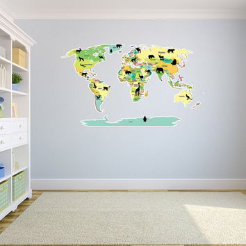 Political World Map with Animal Silhouettes Wall Decal World Country Atlas Vinyl Wall Graphics Bedroom Home Wall Decor