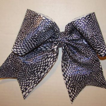 Black and White with Blue Snake Skin Cheer Bow
