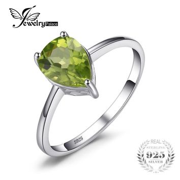 JewelryPalace Water Drop 1.2ct Natural Peridot Rings For Women Pure 925 Sterling Silver Ring Fine Jewelry New Arrival On Sale