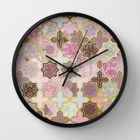 Neapolitan Geometric Tile Pattern Wall Clock by Micklyn | Society6